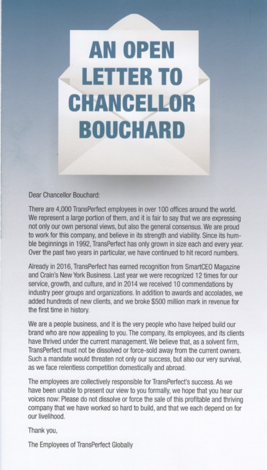 Open Letter to Chancellor Andrew Bouchard