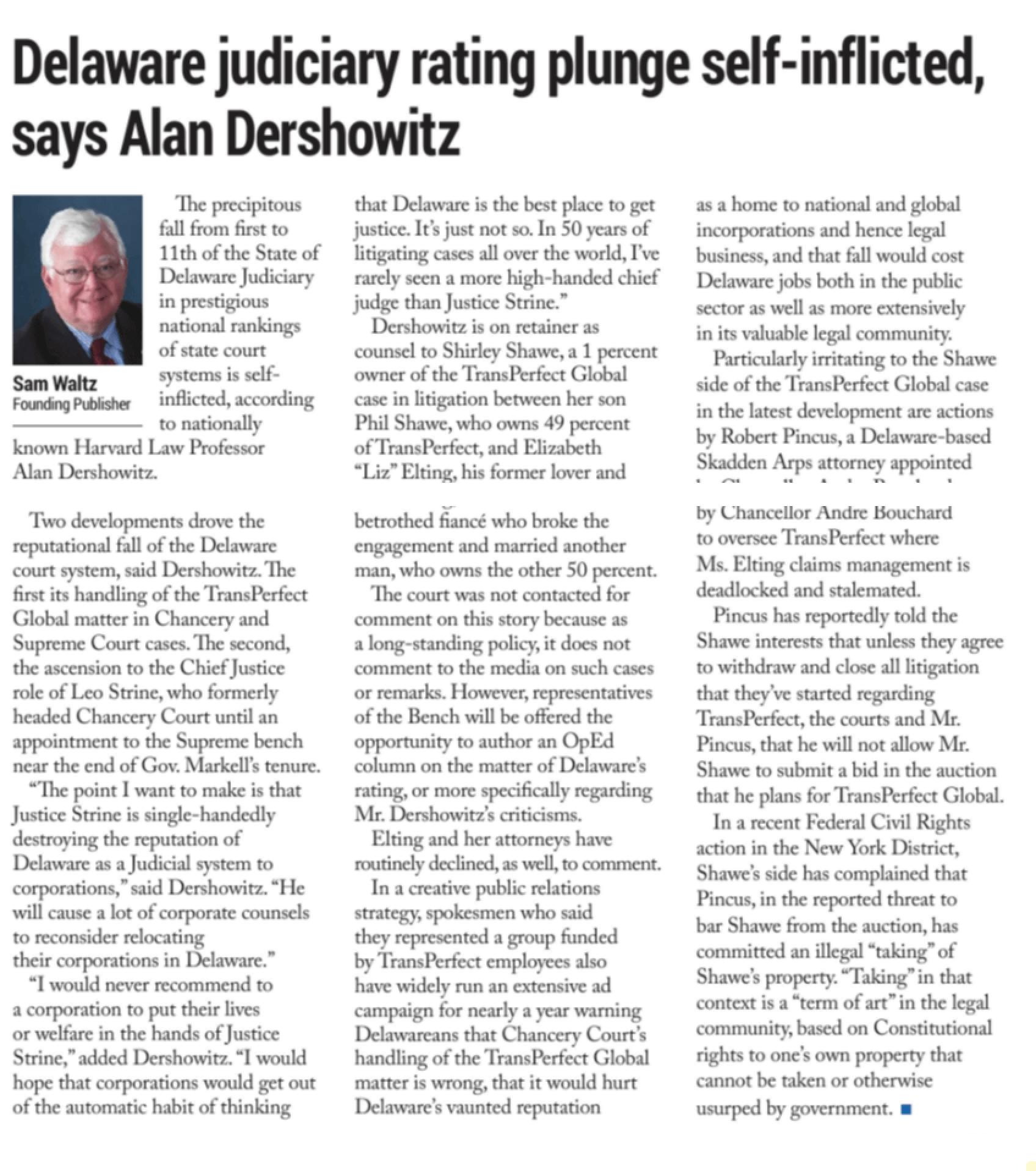 Delaware judiciary rating plunge self-inflicted, says Alan Dershowitz